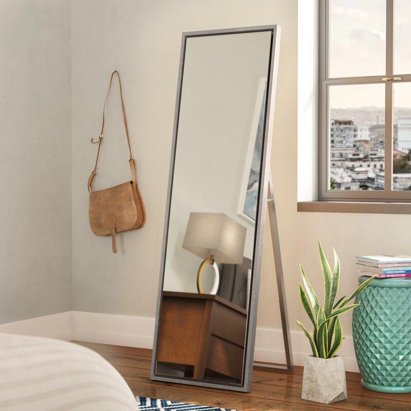 Mercury Row Loeffler Wood Framed Easel Free Standing Full Length Mirror
