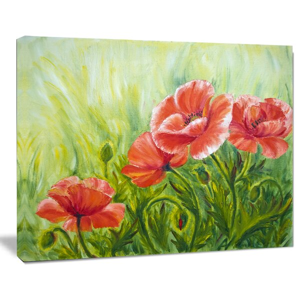 Blooming Poppies with Green Leaves Large Floral Painting Print on Wrapped  Canvas