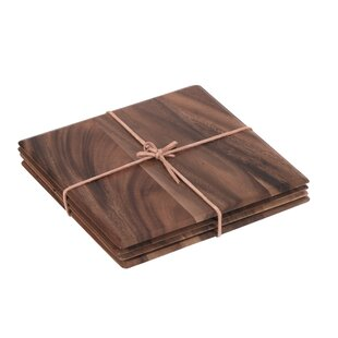 Tuscany Square Table Mat With Leather Tie Set Of 4