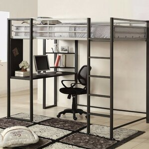 Saint-Louis Full Loft Bunk Bed with Desk and Shelf