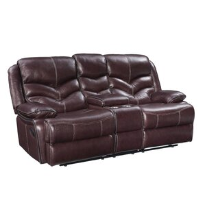 Washington Console Power Motion Leather Loveseat by Three Posts