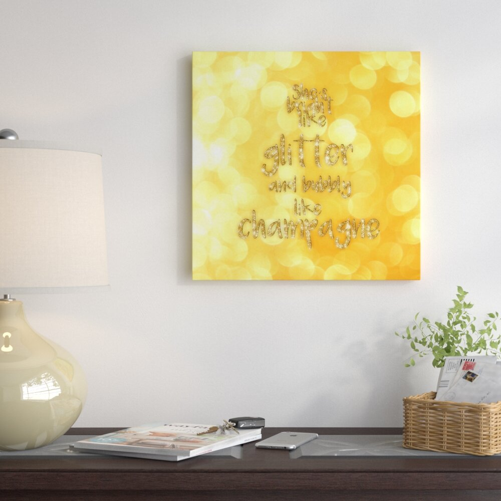 East Urban Home \'Typography Gold Champagne\' Graphic Art Print on ...