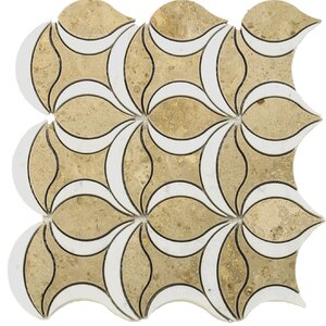 Water Jet Tulip Random Sized Marble Mosaic Tile in White/Yellow