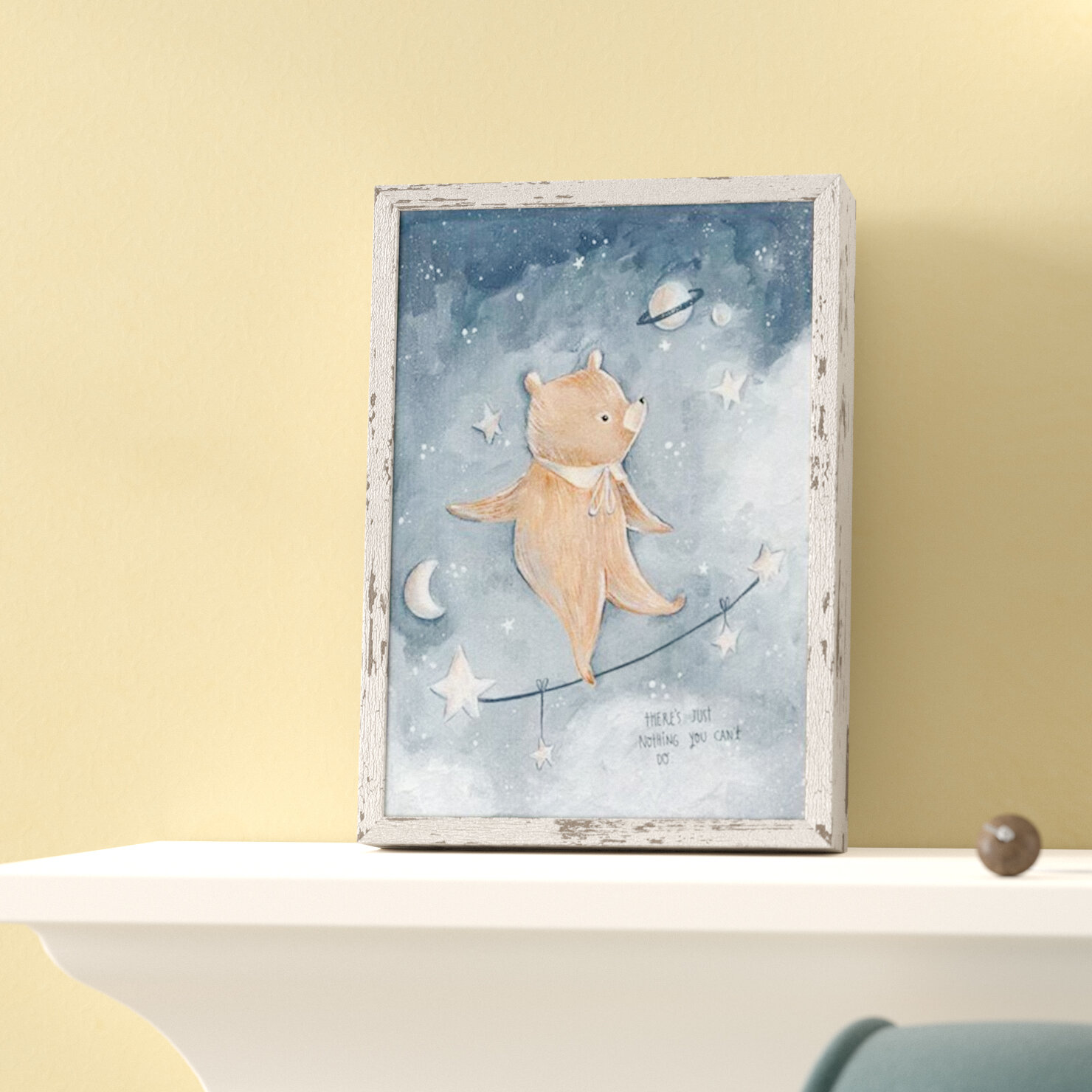 Harriet Bee Kacey Tightrope Bear Mini Framed Canvas Art | Wayfair