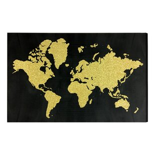 World map wall art world in glitter gold glitter art on canvas gumiabroncs Choice Image