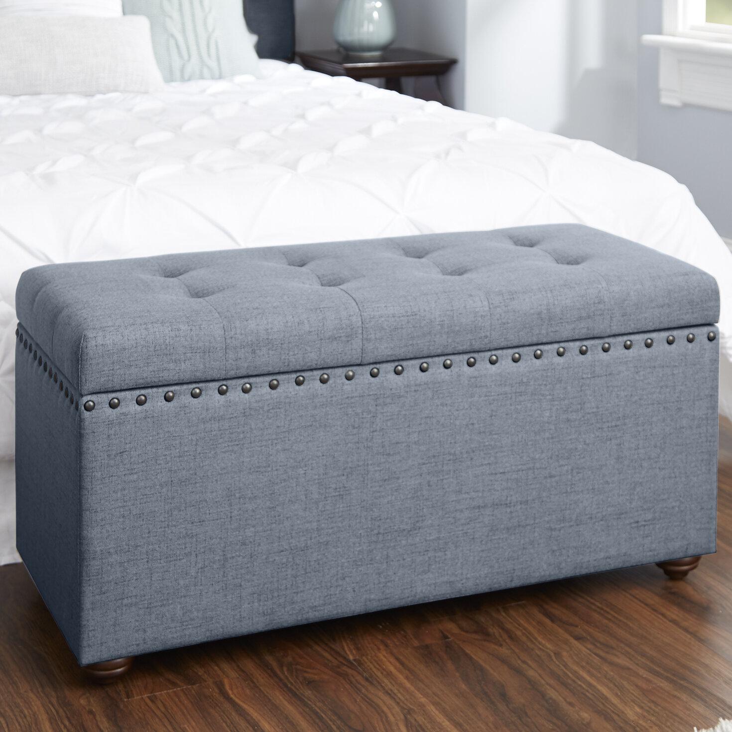 Alcott Hill Adeline Nail Head Upholstered Storage Bench U0026 Reviews | Wayfair