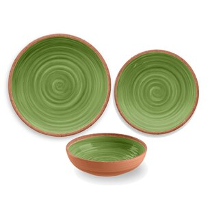 Rustic Swirl Melamine 12 Piece Dinnerware Set Service for 4  sc 1 st  Wayfair & Rustic Dinnerware Sets Youu0027ll Love