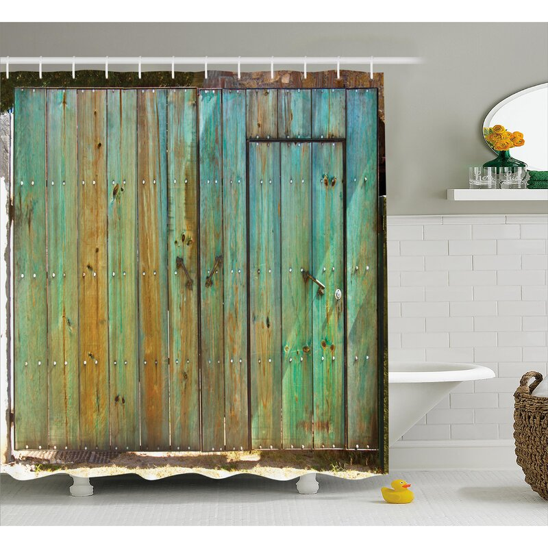 Vintage Rustic Old Wooden Gate Shower Curtain