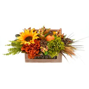 Indoor Faux Floral Harvest Basket