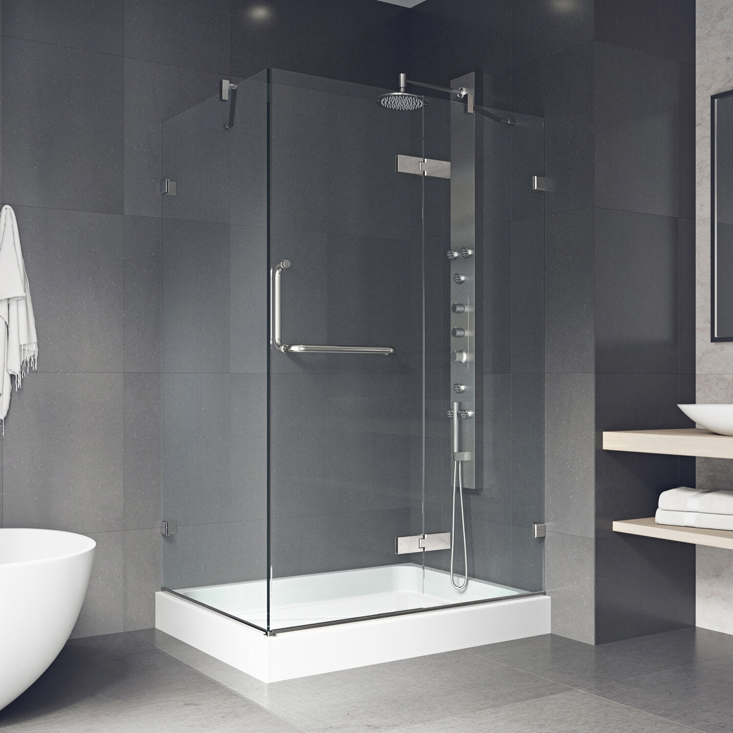 Shower 38 31 X 73 Rectangle Pivot Shower Enclosure With Base Included