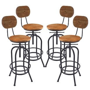 Poitras Adjustable Height Swivel Bar Stool (Set Of 4) Great Reviews