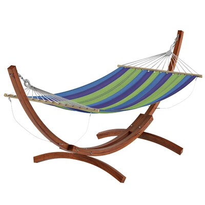 Beachcrest Home Grissom Free-Standing Hammock with Stand Color: Blue/Green