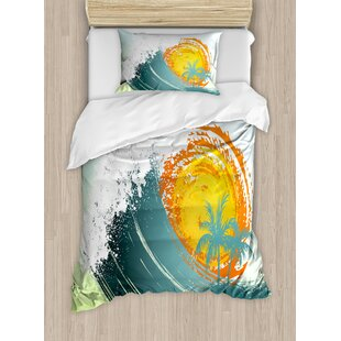 Bedding Sets Cheap Price Ocean Duvet Cover Set Tropic Ocean Style Sandy Shore And Sea With Waves Escape To Paradise Theme 4 Piece Bedding Set 100% Original