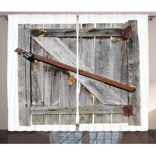 Rustic Aged Wood Barn Door With Rusty Crossed Locks Abandoned Ancient Western Farmhouse Design Graphic Print Text Semi Sheer Rod Pocket Curtain Panels