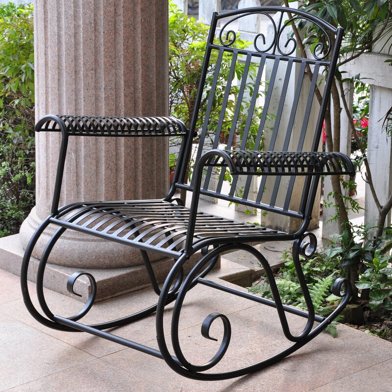 Beau Snowberry Iron Outdoor Porch Rocking Chair