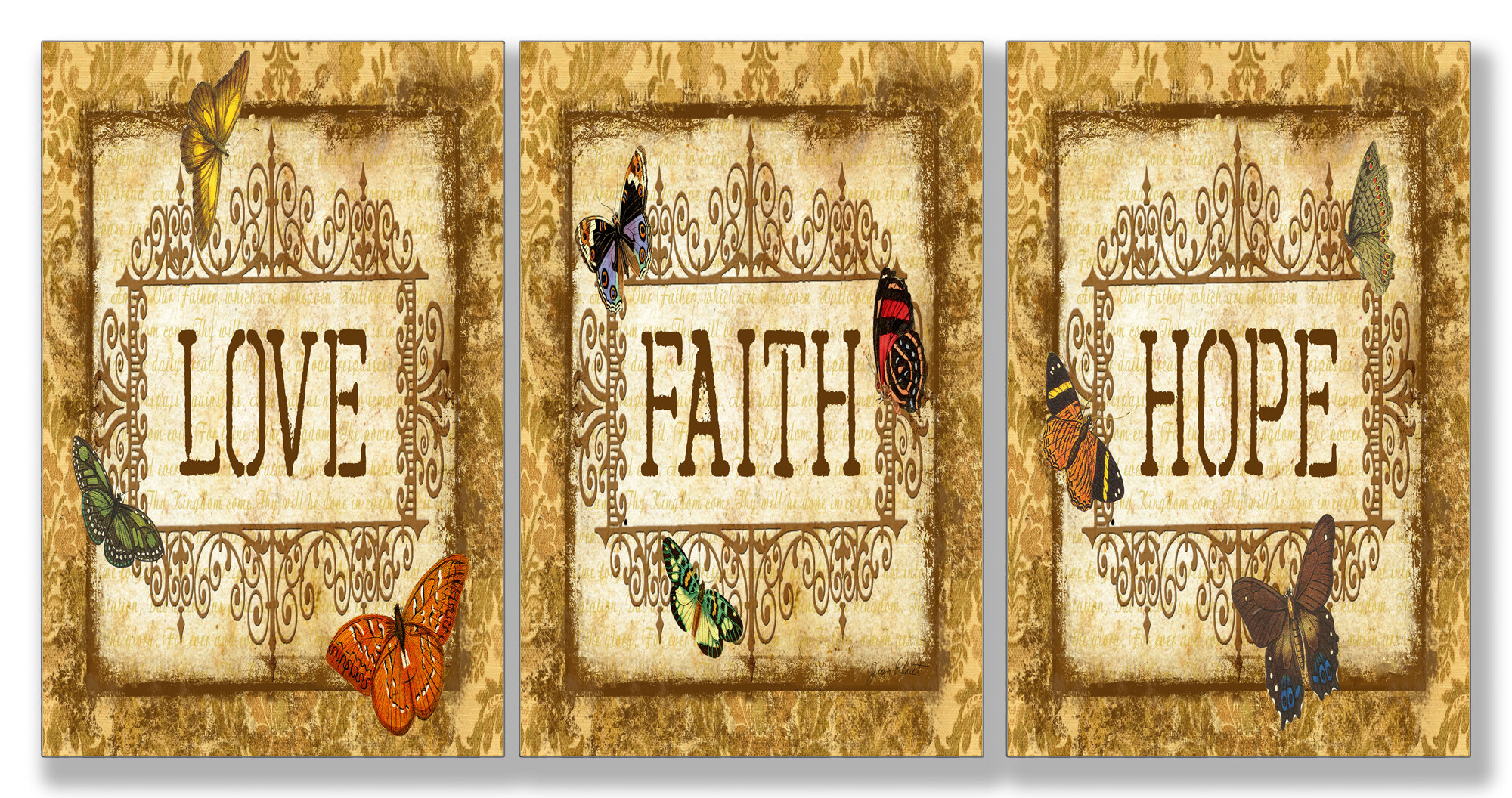 Stupell Industries Love, Faith, Hope Triptych 3 Piece Textual Art ...