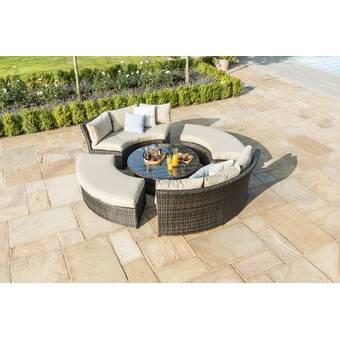 Round Table Marysville.Sol 72 Outdoor Marysville 8 Seater Rattan Sofa Set Wayfair Co Uk