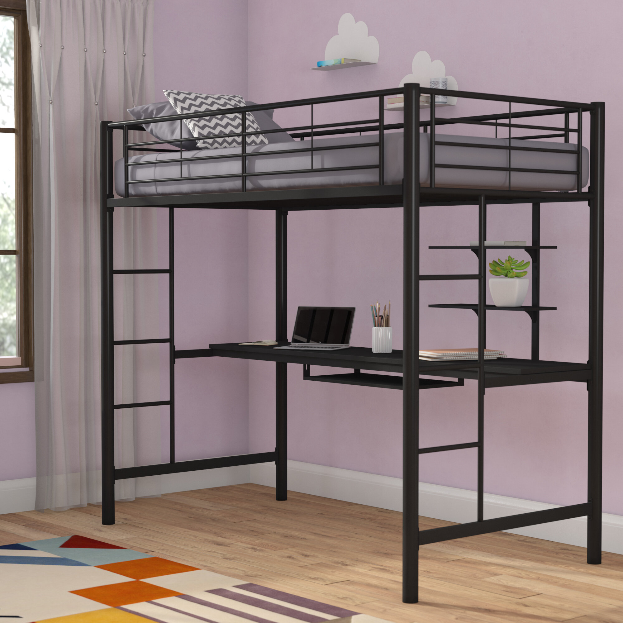 Mack Milo Pinery Twin Bed With Desk