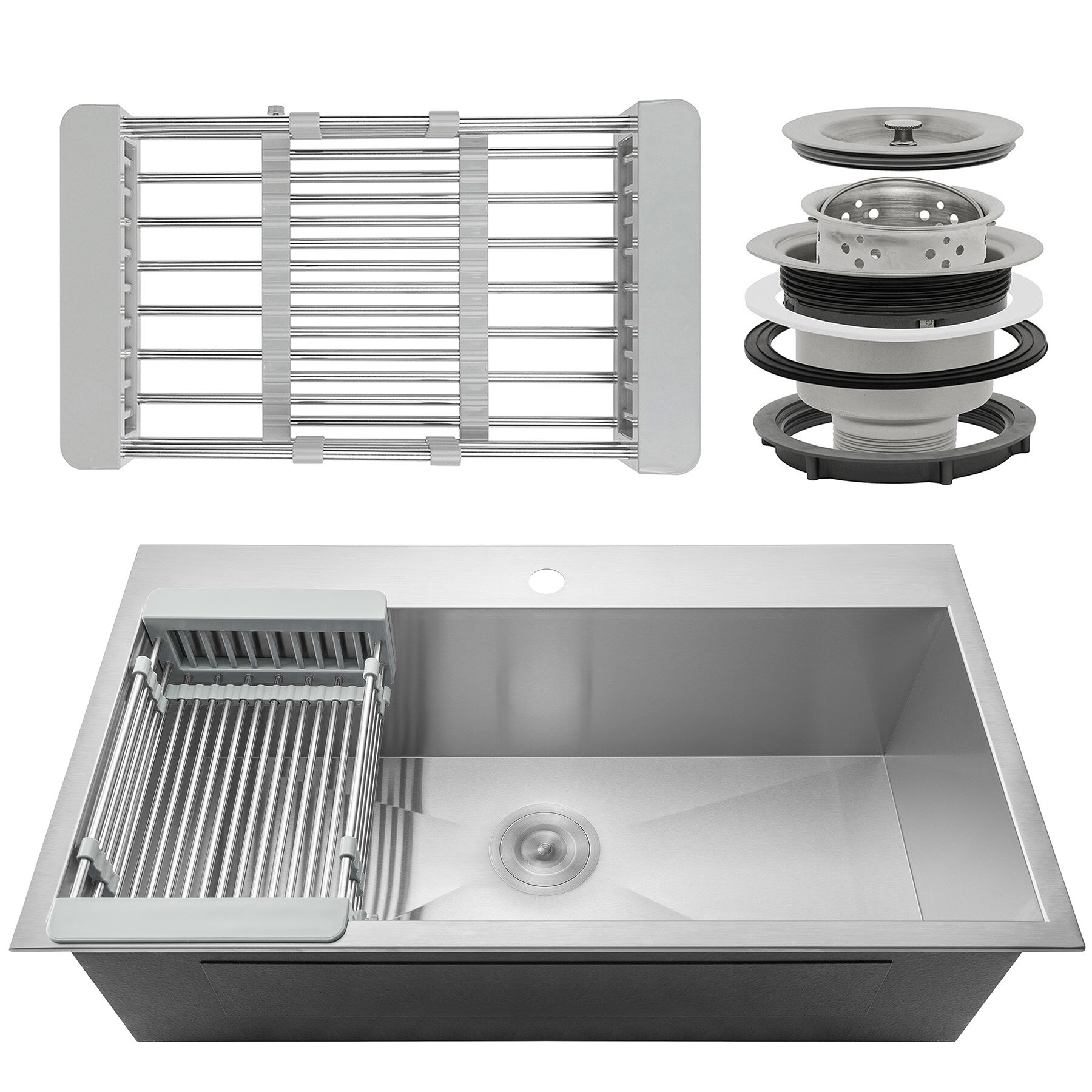 akdy 33 x 22 drop in top mount stainless steel single bowl kitchen rh wayfair com stainless steel single bowl kitchen sink top mount lowes stainless steel single bowl kitchen sink