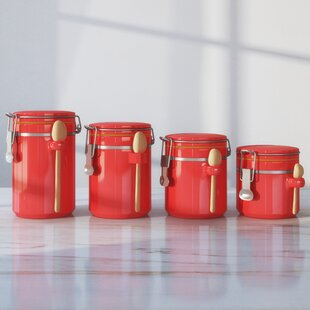 Merveilleux Red Kitchen Canisters U0026 Jars