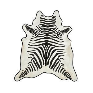 Zebra Cowhide Black/White Area Rug