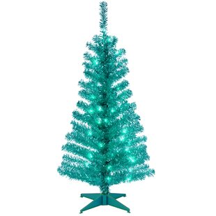 tinsel trees 4 turquoise lighted artificial christmas tree with plastic stand