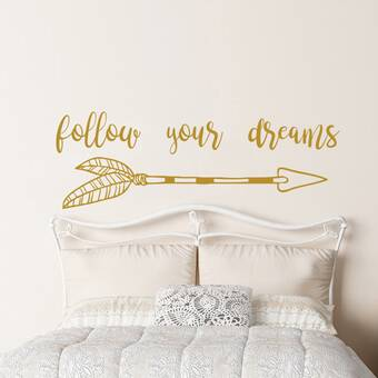 Follow Your Dreams Quote Arrow Sticker Wall Decal