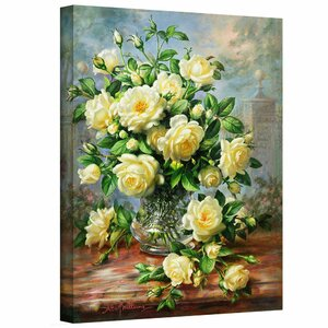 'Princess Diana Roses in a Cut Glass Vase' Painting Print on Canvas