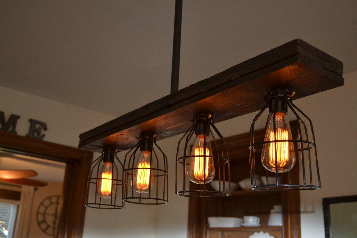 West Ninth Vintage Triple Wood 4-Light Kitchen Island
