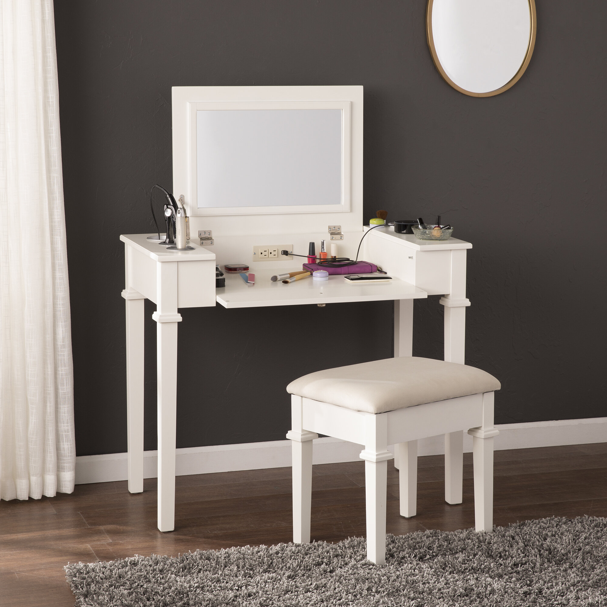 Charlton Home Hutchens Vanity Set With Mirror Reviews Wayfair