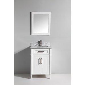 carrara marble 24 single bathroom vanity with mirror