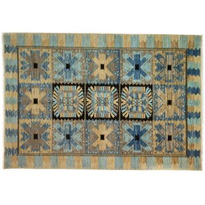 One-of-a-Kind Eclectic Hand-Knotted Blue/Brown Area Rug