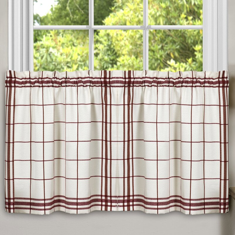 Sweet Home Collection Cambridge Plaid Kitchen Tier Curtain