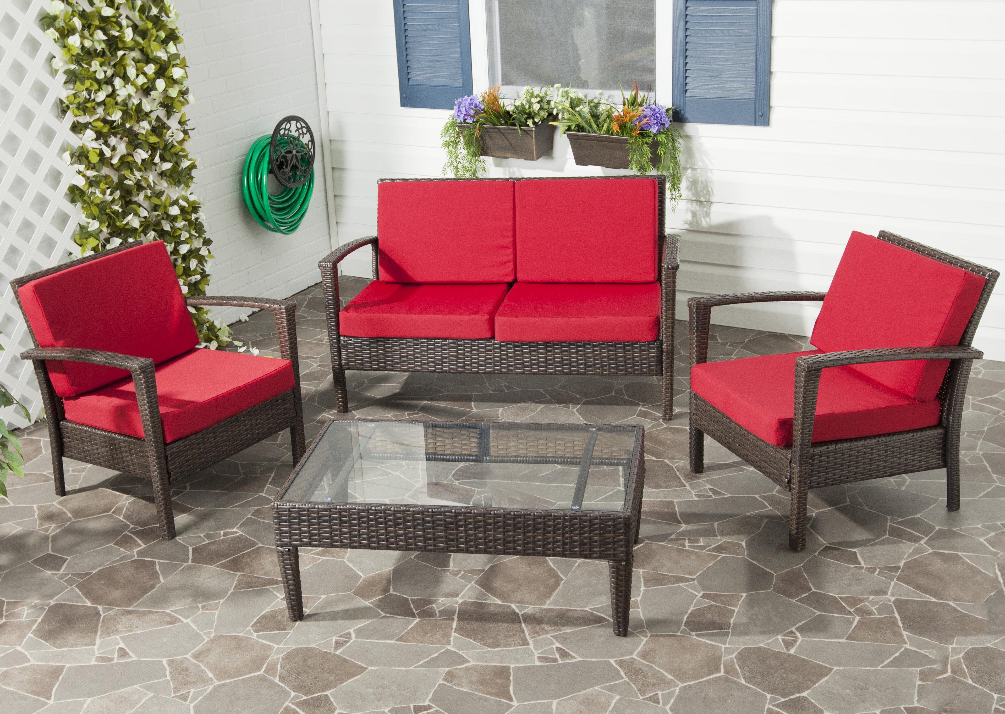 Cade 4 Piece Rattan Sofa Set with Cushions