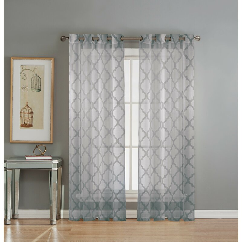 designer kitchen curtains lattice geometric sheer grommet curtain panels amp reviews 3235