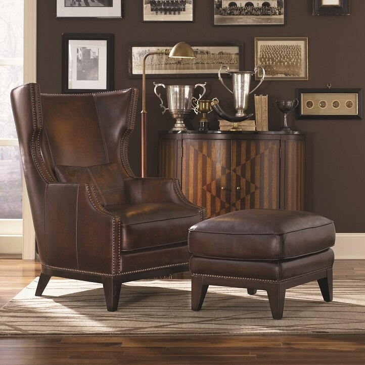 loon peak martin hill wingback chair and ottoman reviews wayfair