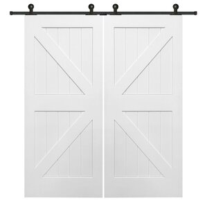 Double Stile And Rail K Planked MDF 4 Panel White Interior Barn Doors