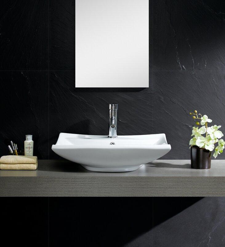 wayfair bathroom sinks. Modern Ceramic Rectangular Vessel Bathroom Sink with Overflow Fine Fixtures