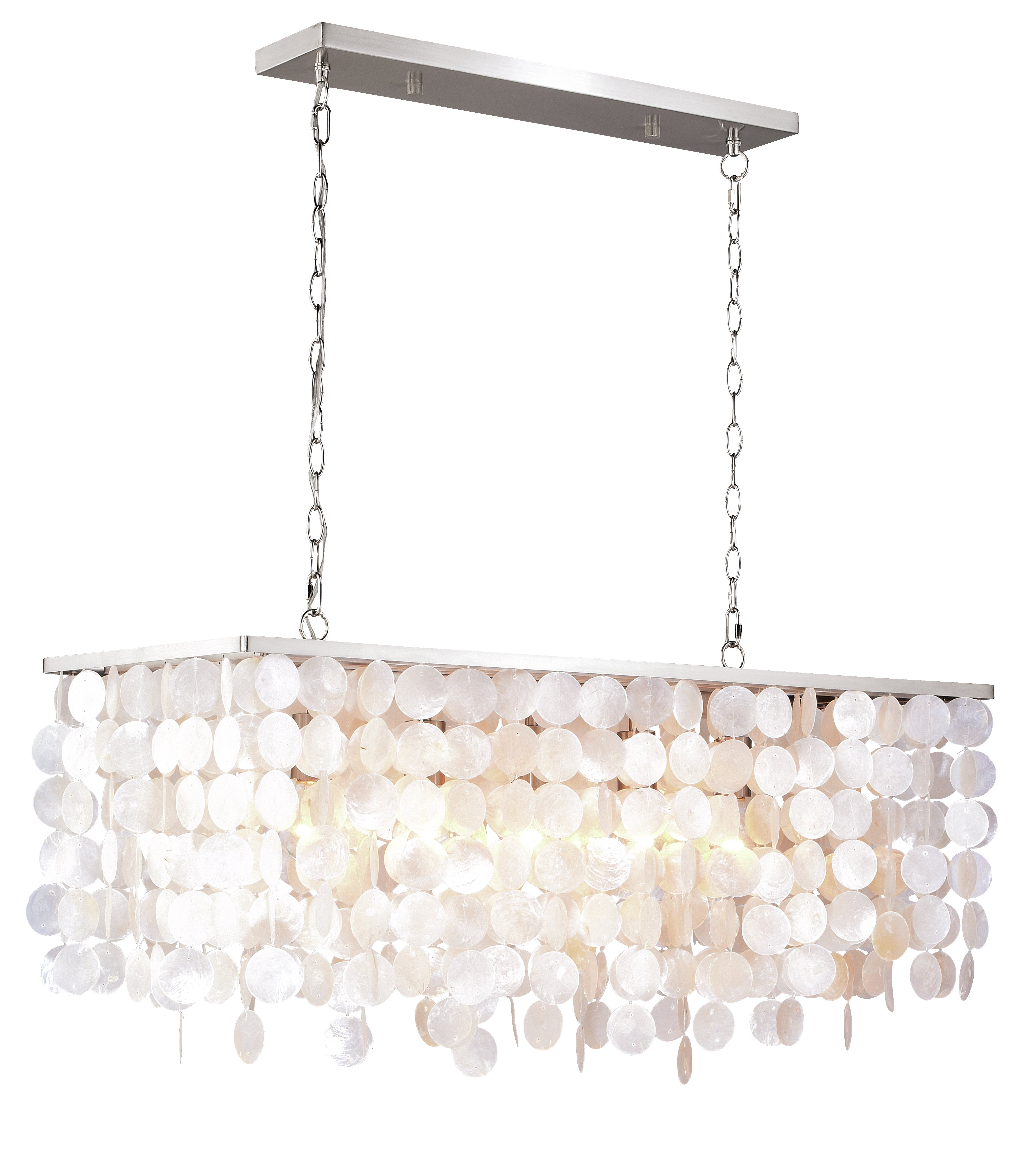 Beachcrest Home Navua Capiz Shell Rectangular 5 Light Kitchen Island Pendant Wayfair