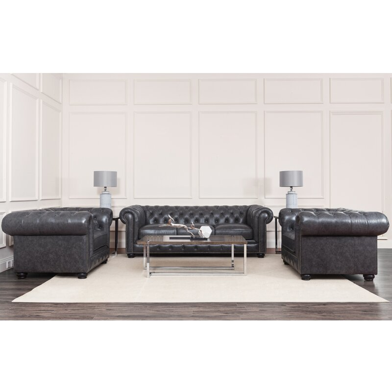 Tanisha Leather Chesterfield Sofa
