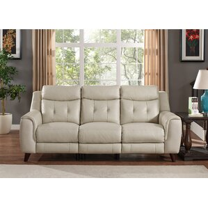 Paramount Leather Reclining Sofa by HYDELINE..
