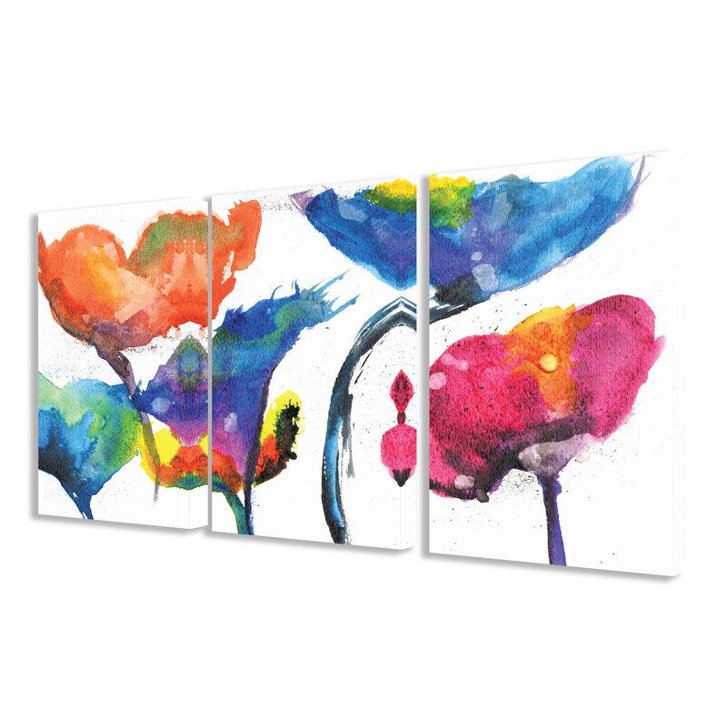 Stupell industries painted look rainbow poppy flowers 3 piece framed painted look rainbow poppy flowers 3 piece framed painting print on canvas set mightylinksfo