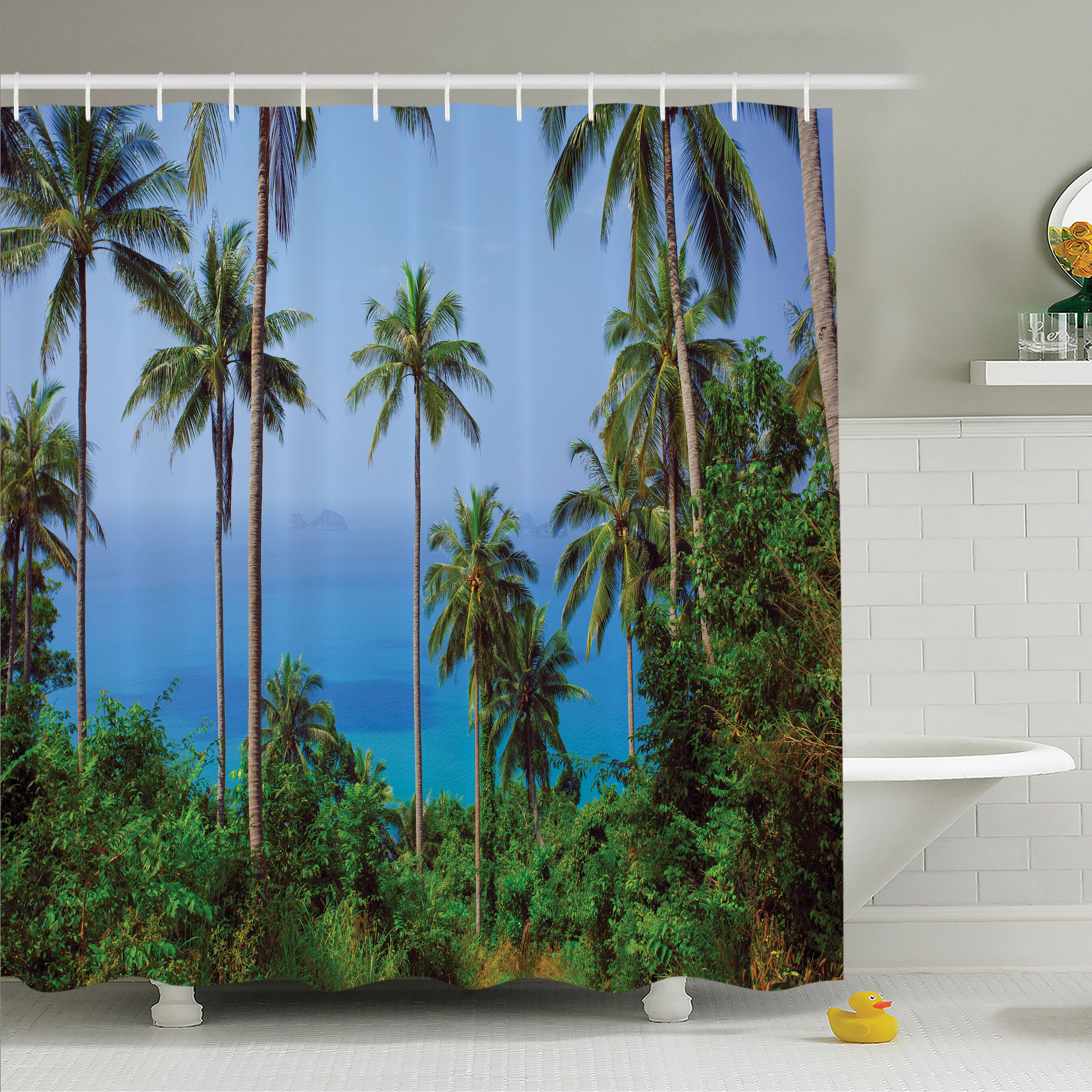 Ambesonne Palm Tree Ocean Scene From Jungle Tropical Beauty Natural Paradise In Nature Theme Shower Curtain Set