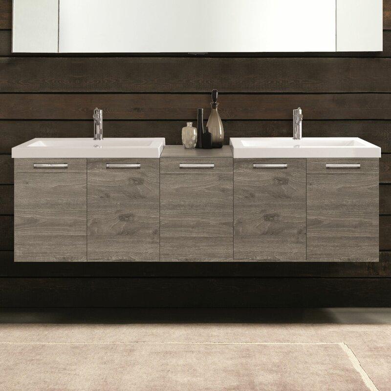 "Modern Bathroom Vanity Sets acquaviva 69"" double modern bathroom vanity set & reviews | wayfair"