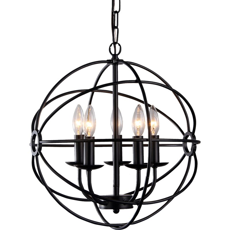 Laurel Foundry Modern Farmhouse Catskill 5 Light Globe Chandelier