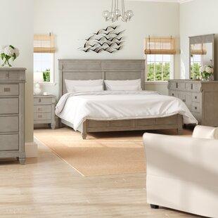 vasilikos gray solid wood construction platform 5 piece bedroom set - Wood Bedroom Sets
