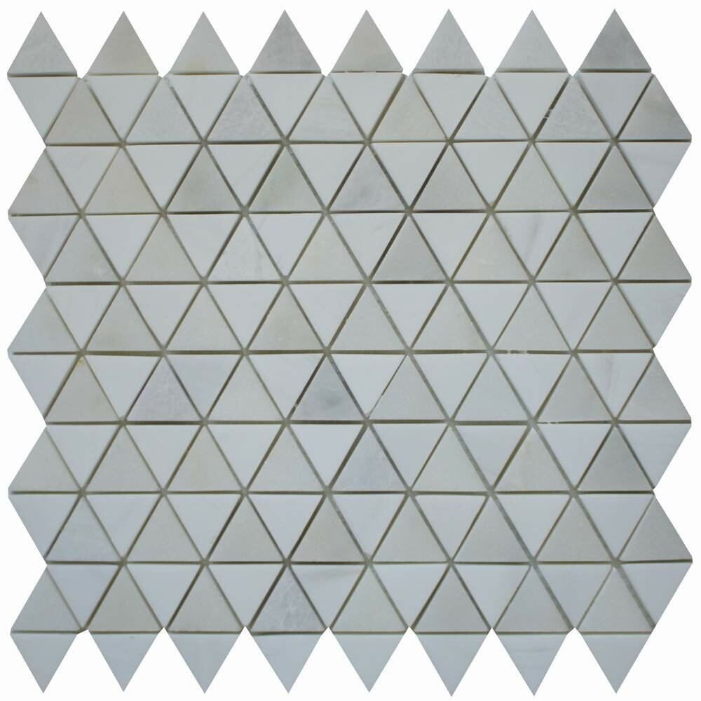 Diamantes 0 38 X Marble Mosaic Tile In White Calacatta