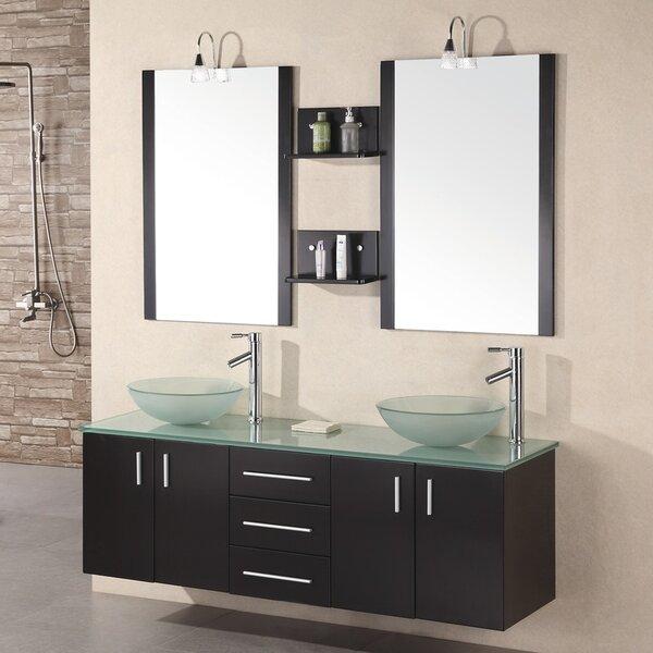 "Brayden Studio Newcastle 61"" Floating Double Bathroom Vanity Set With Mirrors & Reviews"