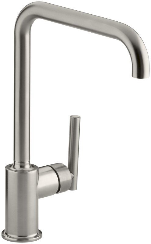 Single Hole Kitchen Sink Faucet | K 7507 Bl Cp Sn Kohler Purist Single Hole Kitchen Sink Faucet With