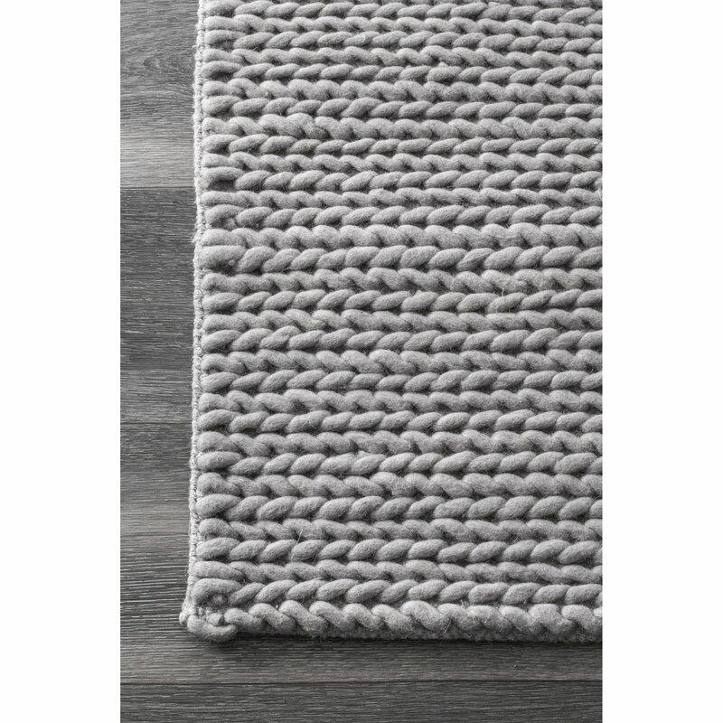 Makenzie Woolen Cable Hand Woven Light Gray Area Rug